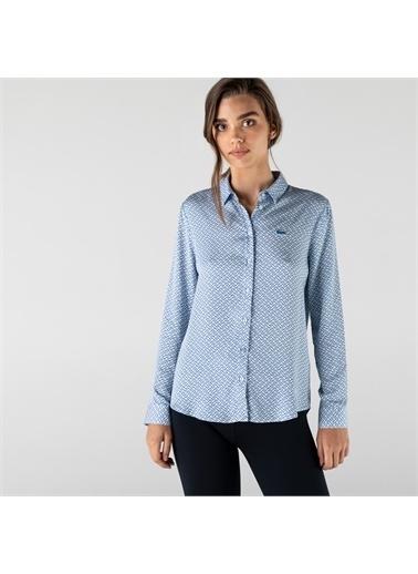 Lacoste Lacoste Kadın Slim Fit Desenli Mavi Gömlek Mavi